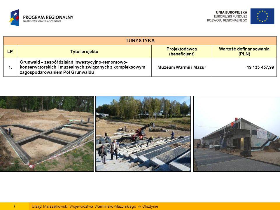 7Urząd Marszałkowski Województwa Warmińsko-Mazurskiego w Olsztynie TURYSTYKA LPTytuł projektu Projektodawca (beneficjent) Wartość dofinansowania (PLN) 1.