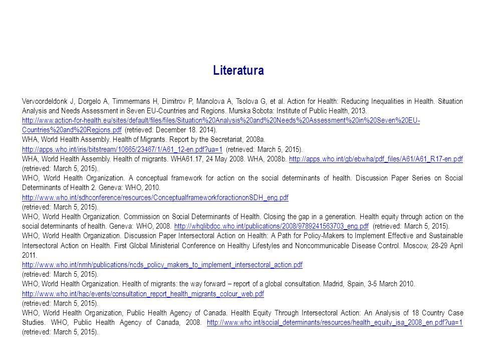 Literatura Vervoordeldonk J, Dorgelo A, Timmermans H, Dimitrov P, Manolova A, Tsolova G, et al.