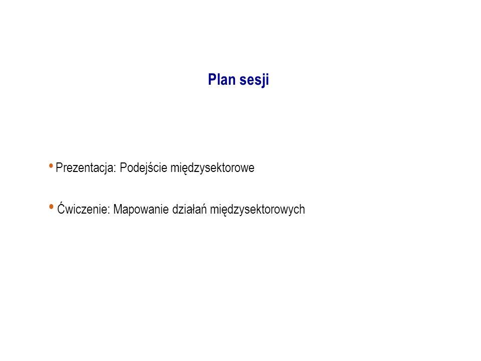 Prezentacja: Podejście międzysektorowe Ćwiczenie: Mapowanie działań międzysektorowych Plan sesji