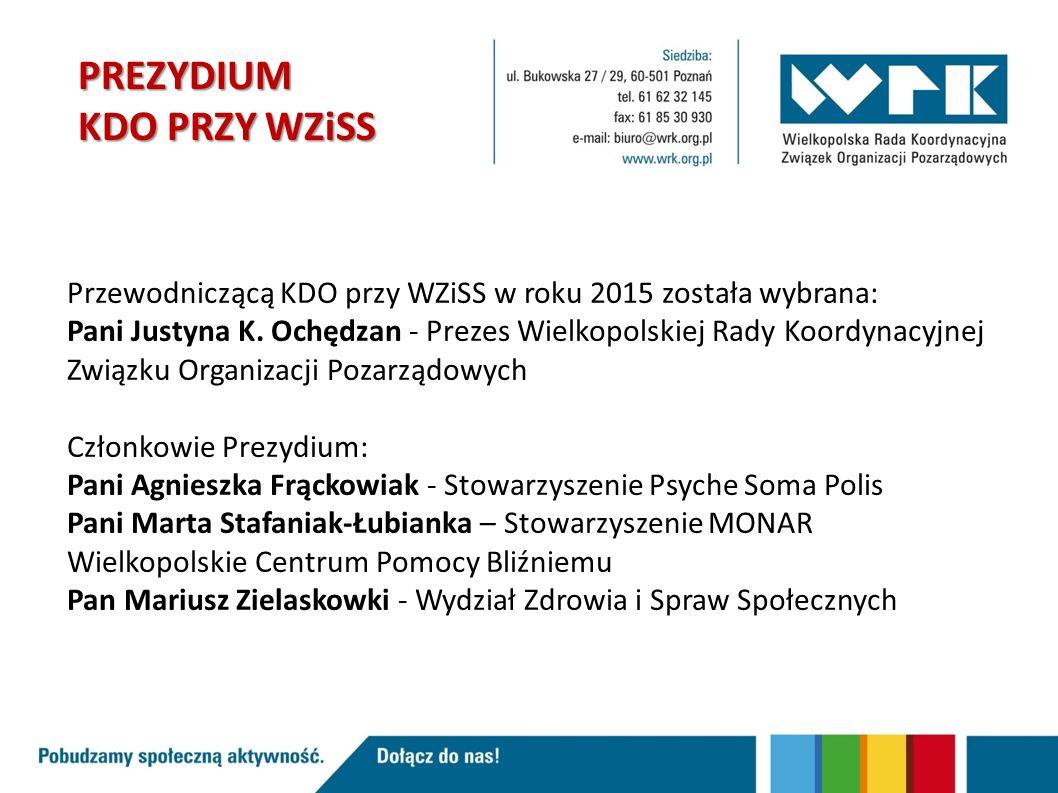 PREZYDIUM KDO PRZY WZiSS Przewodniczącą KDO przy WZiSS w roku 2015 została wybrana: Pani Justyna K.