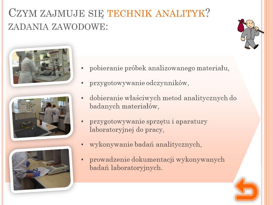 Miejsce wykonywania pracy Charakter pracy Praca technika analityka ma głównie charakter indywidualny, ale wymaga także umiejętności pracy w zespole.