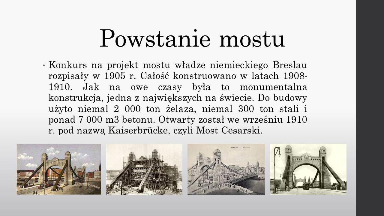 Nazwy Powstał tuż przed I Wojną Światową, jeszcze jako Most Cesarski.