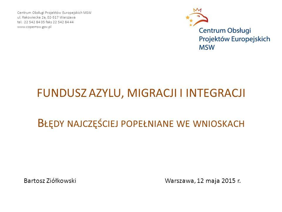 FUNDUSZ AZYLU, MIGRACJI I INTEGRACJI B ŁĘDY NAJCZĘŚCIEJ POPEŁNIANE WE WNIOSKACH Centrum Obsługi Projektów Europejskich MSW ul.