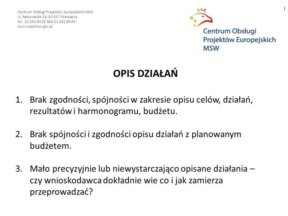 OPIS DZIAŁAŃ 4 Centrum Obsługi Projektów Europejskich MSW ul.