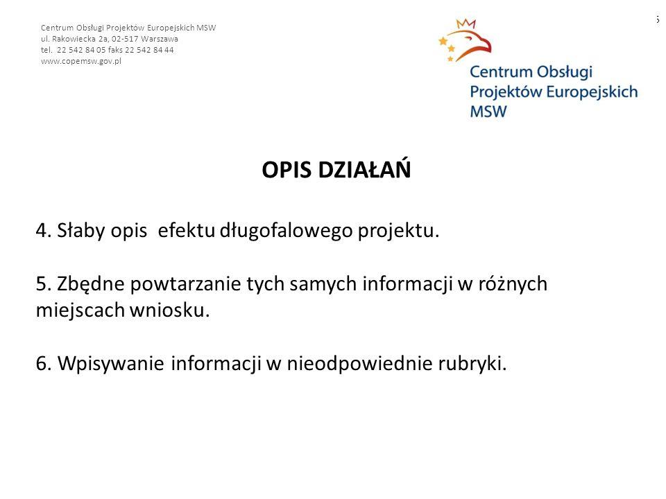 OPIS DZIAŁAŃ 5 Centrum Obsługi Projektów Europejskich MSW ul.
