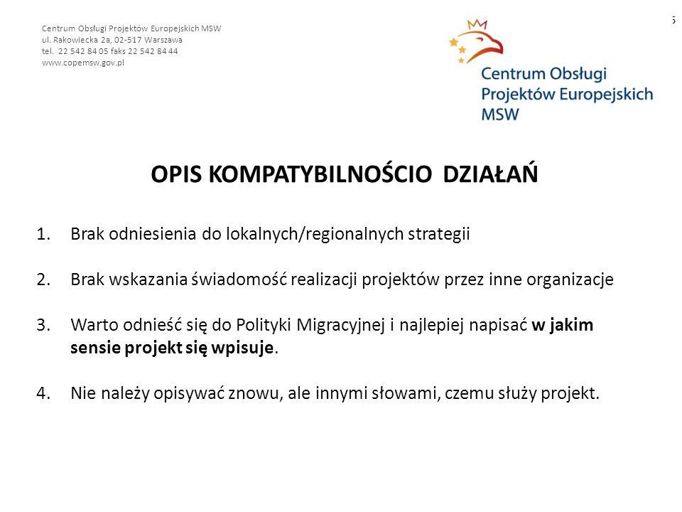OPIS KOMPATYBILNOŚCIO DZIAŁAŃ 6 Centrum Obsługi Projektów Europejskich MSW ul.