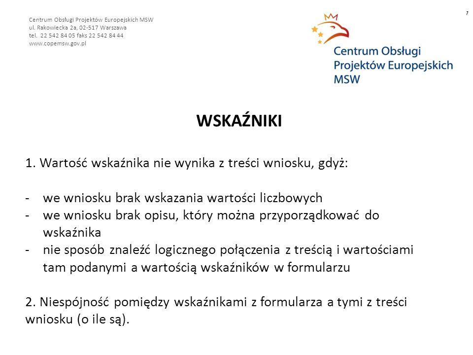 WSKAŹNIKI 7 Centrum Obsługi Projektów Europejskich MSW ul.
