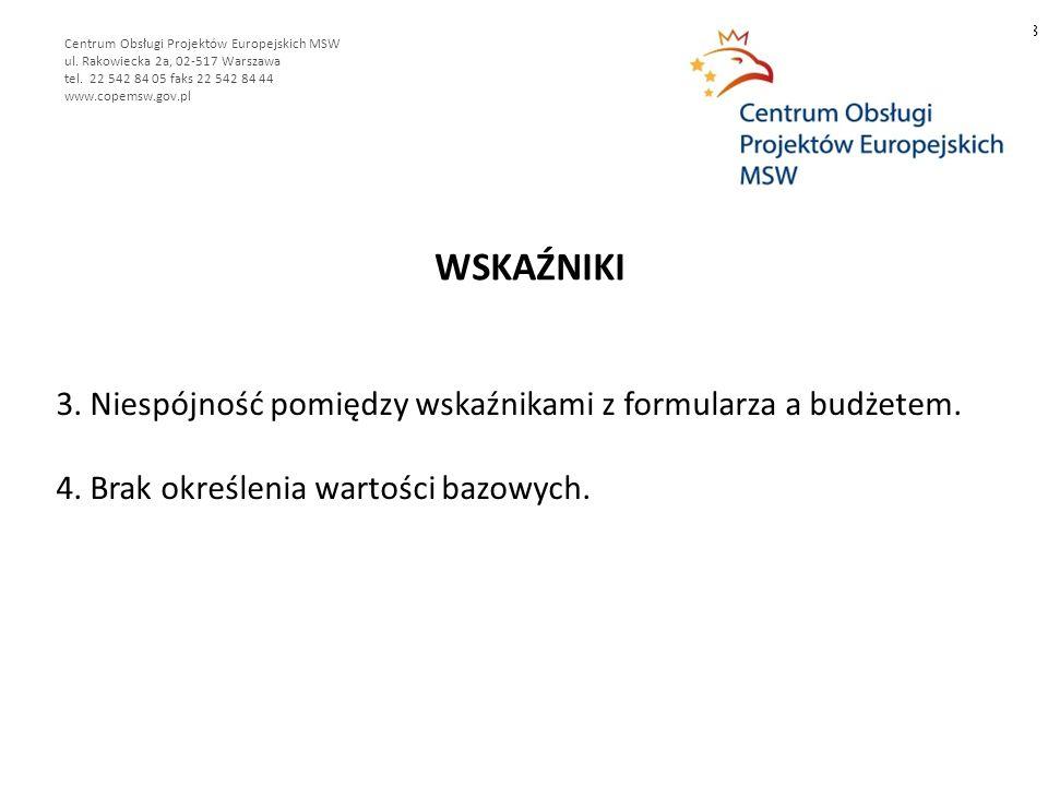 WSKAŹNIKI 8 Centrum Obsługi Projektów Europejskich MSW ul.