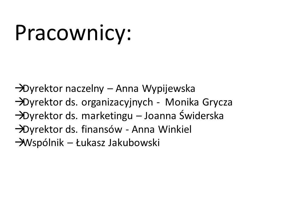 Pracownicy:  Dyrektor naczelny – Anna Wypijewska  Dyrektor ds. organizacyjnych - Monika Grycza  Dyrektor ds. marketingu – Joanna Świderska  Dyrekt