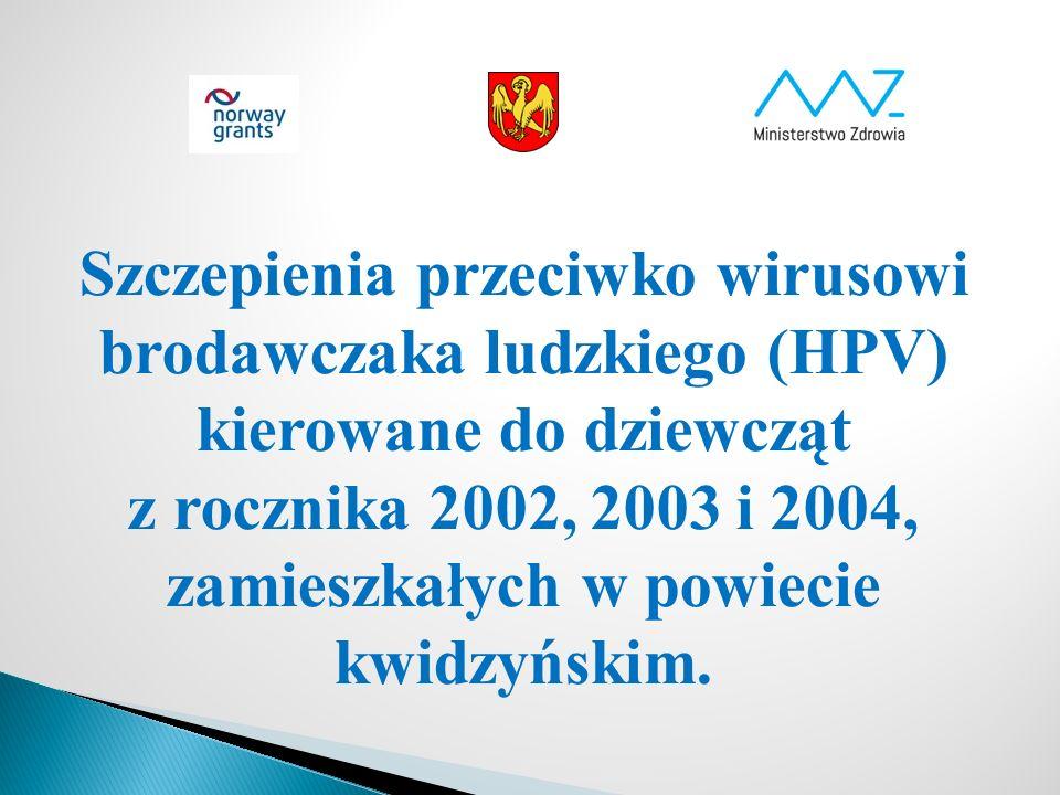 Szczepienia przeciwko wirusowi brodawczaka ludzkiego (HPV) kierowane do dziewcząt z rocznika 2002, 2003 i 2004, zamieszkałych w powiecie kwidzyńskim.