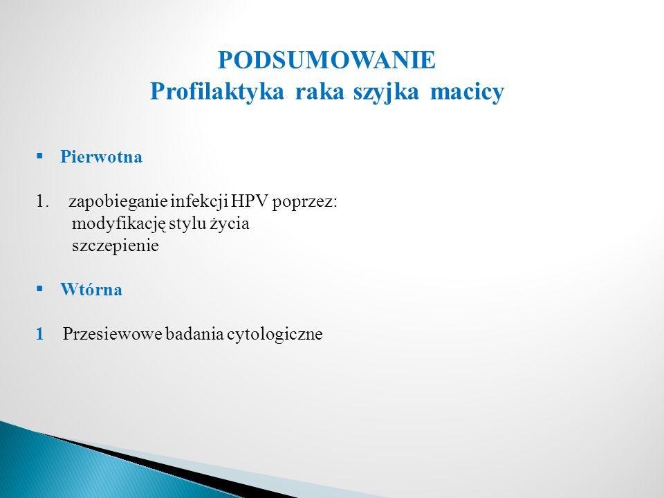 PODSUMOWANIE Profilaktyka raka szyjka macicy  Pierwotna 1.zapobieganie infekcji HPV poprzez: modyfikację stylu życia szczepienie  Wtórna 1 Przesiewowe badania cytologiczne