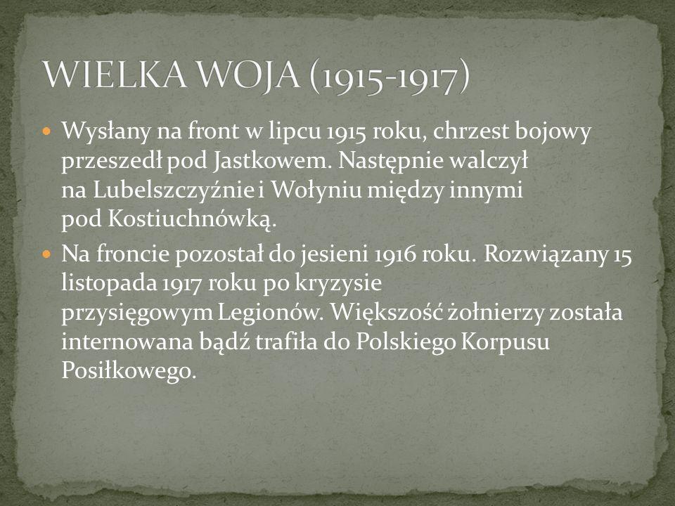 Wysłany na front w lipcu 1915 roku, chrzest bojowy przeszedł pod Jastkowem.