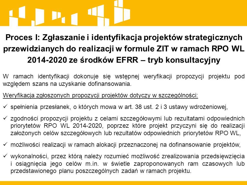 Proces I: Zgłaszanie i identyfikacja projektów strategicznych przewidzianych do realizacji w formule ZIT w ramach RPO WL 2014-2020 ze środków EFRR – tryb konsultacyjny W ramach identyfikacji dokonuje się wstępnej weryfikacji propozycji projektu pod względem szans na uzyskanie dofinansowania.
