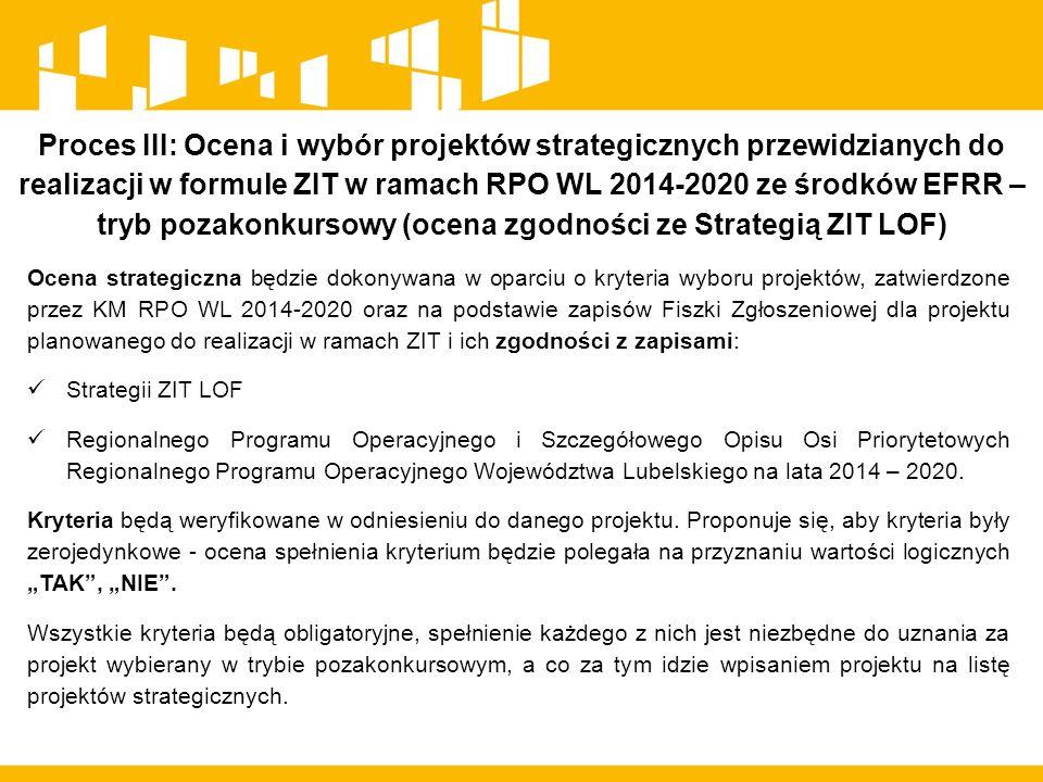 Proces III: Ocena i wybór projektów strategicznych przewidzianych do realizacji w formule ZIT w ramach RPO WL 2014-2020 ze środków EFRR – tryb pozakonkursowy (ocena zgodności ze Strategią ZIT LOF) Ocena strategiczna będzie dokonywana w oparciu o kryteria wyboru projektów, zatwierdzone przez KM RPO WL 2014-2020 oraz na podstawie zapisów Fiszki Zgłoszeniowej dla projektu planowanego do realizacji w ramach ZIT i ich zgodności z zapisami: Strategii ZIT LOF Regionalnego Programu Operacyjnego i Szczegółowego Opisu Osi Priorytetowych Regionalnego Programu Operacyjnego Województwa Lubelskiego na lata 2014 – 2020.