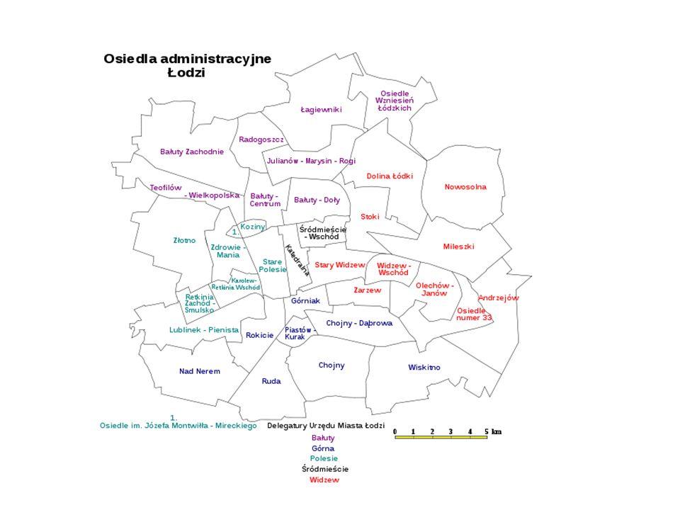Podział na dwa poziomy Poziom osiedlowy (zgodny z granicami osiedli w Łodzi) – 36 osiedli Poziom ogolnomiejski