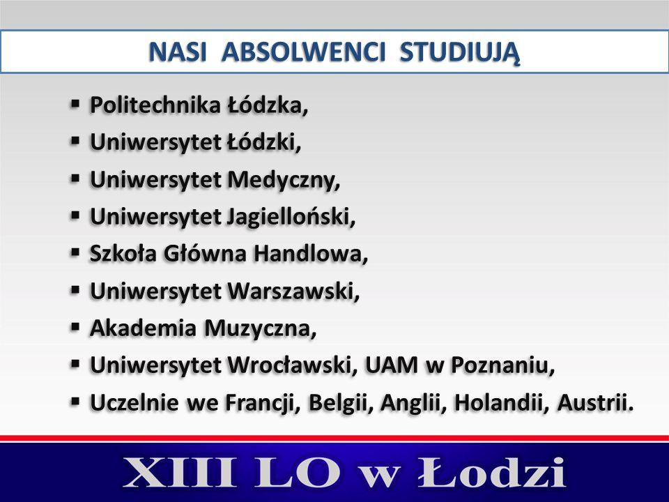 NASI ABSOLWENCI STUDIUJĄ  Politechnika Łódzka,  Uniwersytet Łódzki,  Uniwersytet Medyczny,  Uniwersytet Jagielloński,  Szkoła Główna Handlowa, 