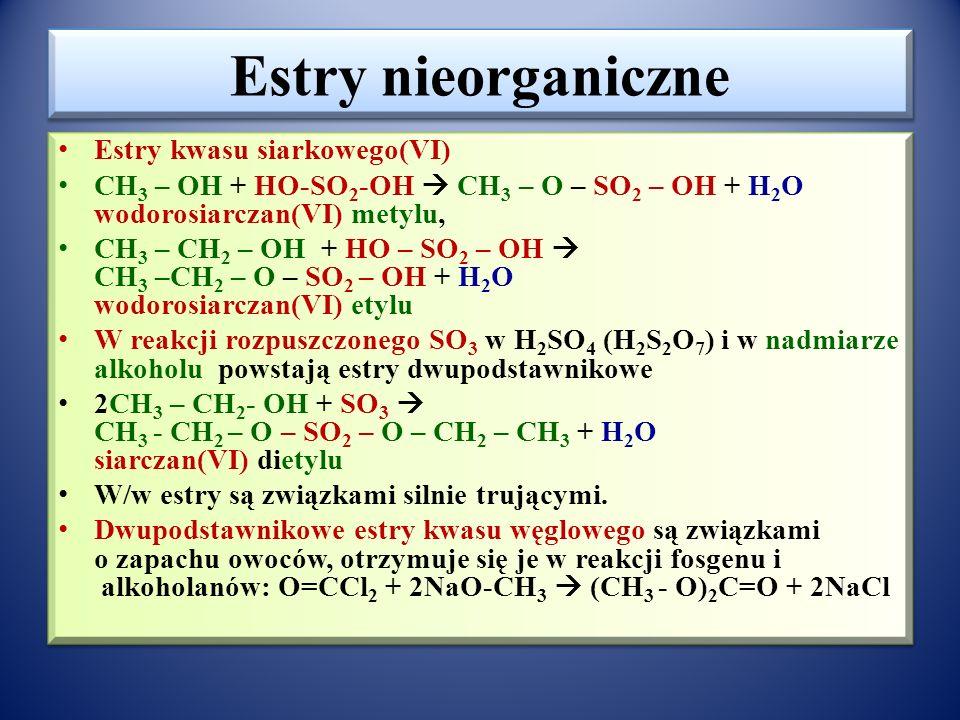 Woski Estry wyższych kwasów karboksylowych (np. kwas palmitynowy – C 15 H 31 COOH) i wyższych monohydroksylowych alkoholi (np. mirycylowy – C 31 H 63