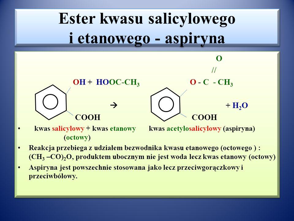 Laktony – produkty estryfikacji wewnątrzcząsteczkowej O // H 2 C - C HO- γ CH 2 – β CH 2 – α CH 2 –COOH  | O + H 2 O H 2 C - H 2 C kwas γ-hydroksybut