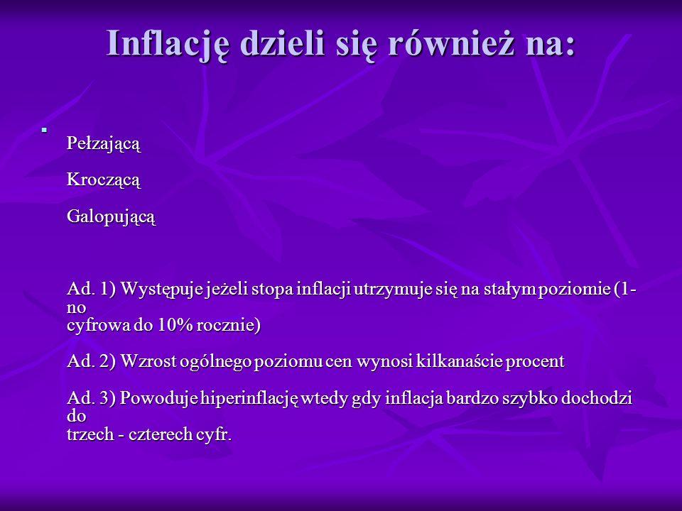 Inflację dzieli się również na: Pełzającą Kroczącą Galopującą Ad.