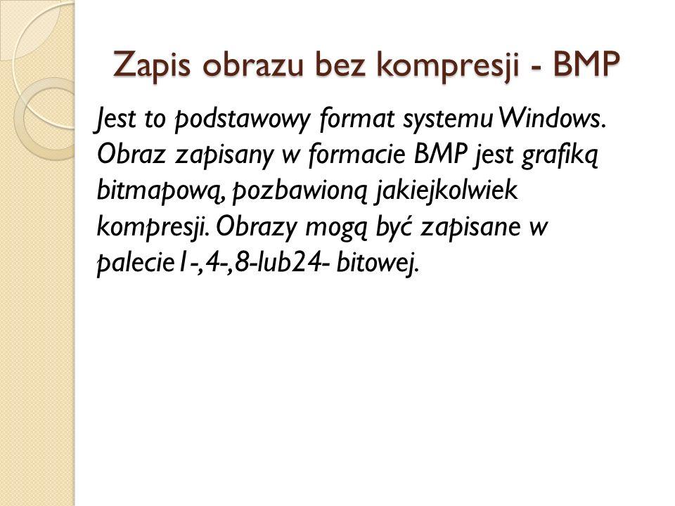 Zapis obrazu bez kompresji - BMP Jest to podstawowy format systemu Windows.