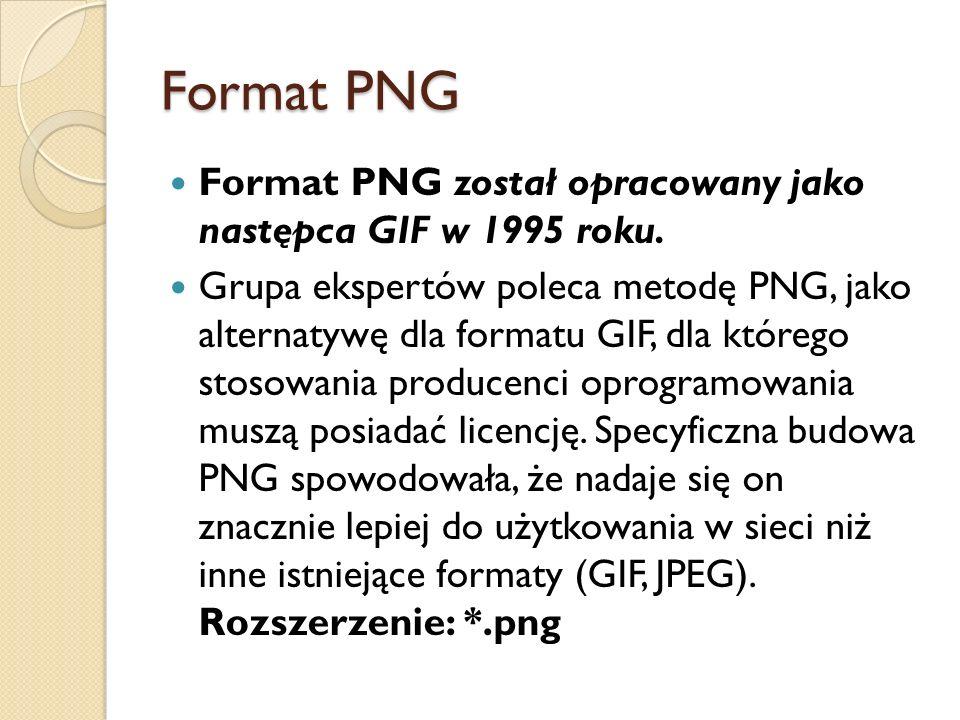 Format PNG Format PNG został opracowany jako następca GIF w 1995 roku.