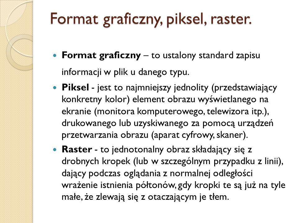 Format graficzny, piksel, raster.