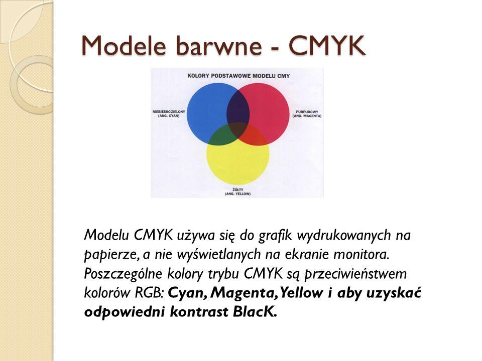 Modele barwne - CMYK Modelu CMYK używa się do grafik wydrukowanych na papierze, a nie wyświetlanych na ekranie monitora.