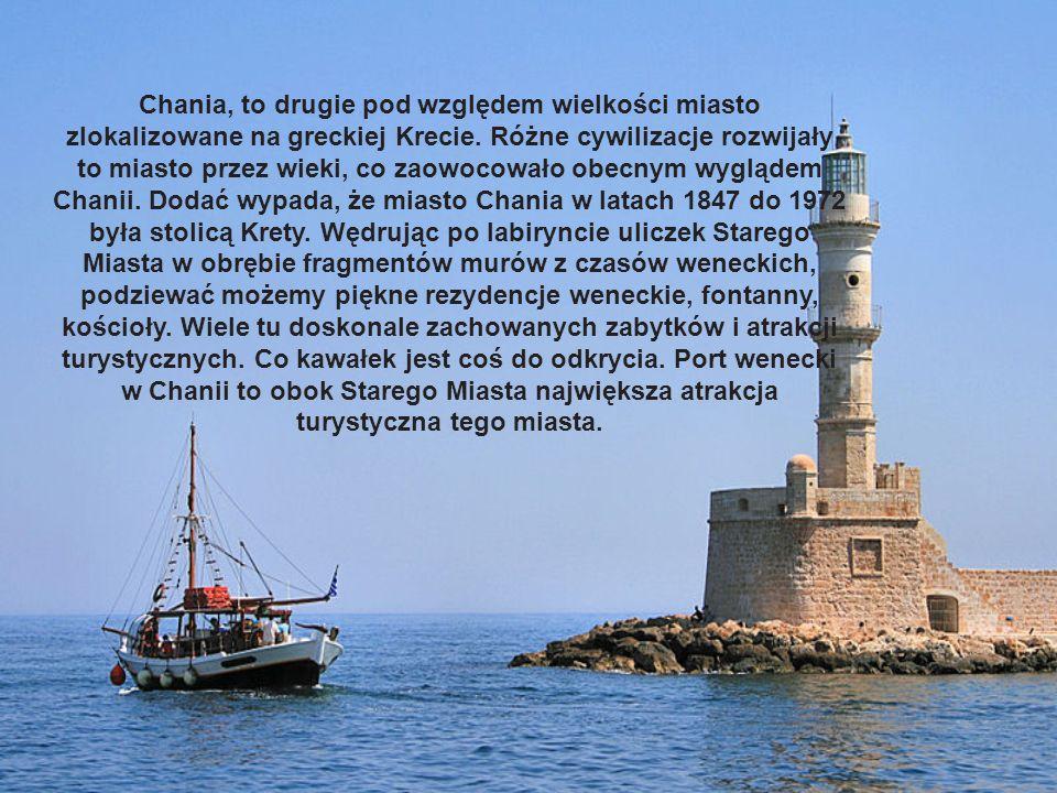 Chania, to drugie pod względem wielkości miasto zlokalizowane na greckiej Krecie. Różne cywilizacje rozwijały to miasto przez wieki, co zaowocowało ob