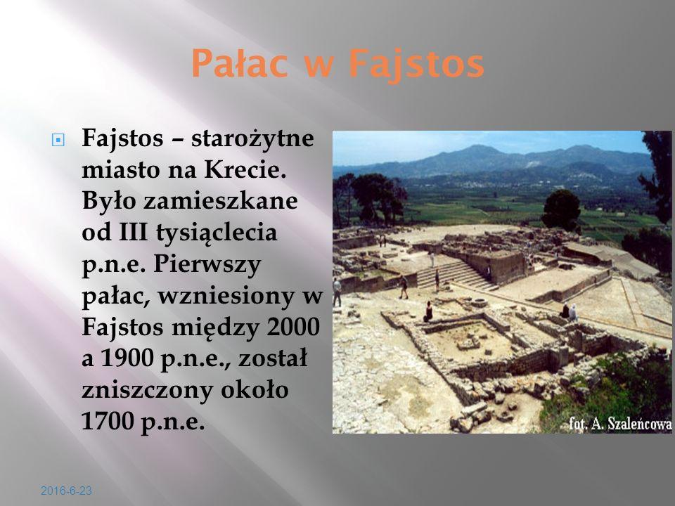 Pa ł ac w Fajstos  Fajstos – staro ż ytne miasto na Krecie. By ł o zamieszkane od III tysi ą clecia p.n.e. Pierwszy pa ł ac, wzniesiony w Fajstos mi