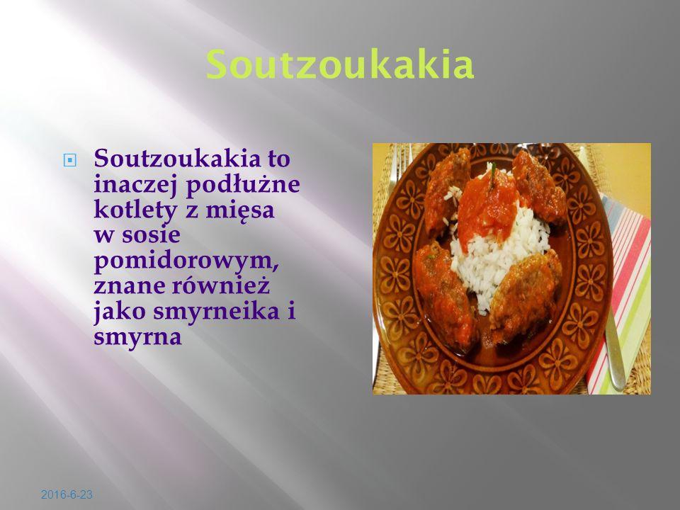 2016-6-23 Soutzoukakia  Soutzoukakia to inaczej pod ł u ż ne kotlety z mi ę sa w sosie pomidorowym, znane równie ż jako smyrneika i smyrna