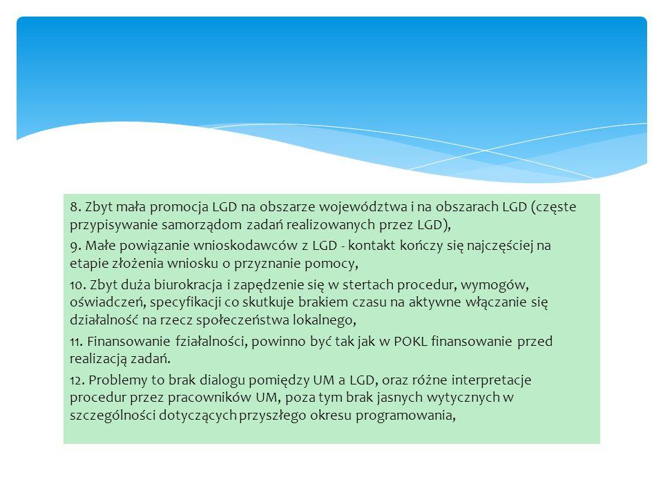 8. Zbyt mała promocja LGD na obszarze województwa i na obszarach LGD (częste przypisywanie samorządom zadań realizowanych przez LGD), 9. Małe powiązan