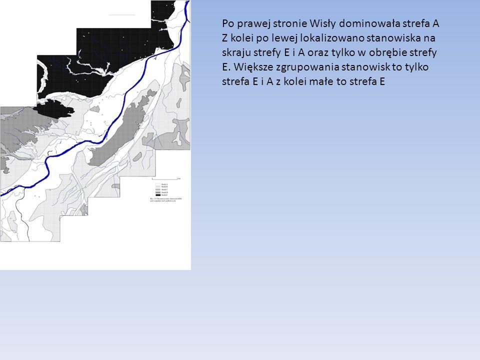 Po prawej stronie Wisły dominowała strefa A Z kolei po lewej lokalizowano stanowiska na skraju strefy E i A oraz tylko w obrębie strefy E. Większe zgr