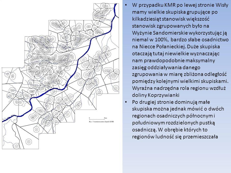 W przypadku KMR po lewej stronie Wisły mamy wielkie skupiska grupujące po kilkadziesiąt stanowisk większość stanowisk zgrupowanych było na Wyżynie Sandomierskie wykorzystując ją niemal w 100%, bardzo słabe osadnictwo na Niecce Połanieckiej.