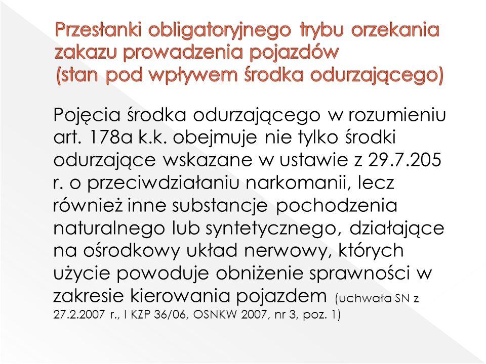 Pojęcia środka odurzającego w rozumieniu art. 178a k.k.