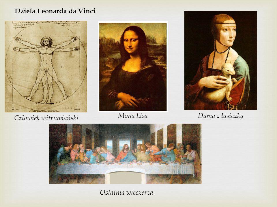 Dzieła Leonarda da Vinci Człowiek witruwiański Mona LisaDama z łasiczką Ostatnia wieczerza