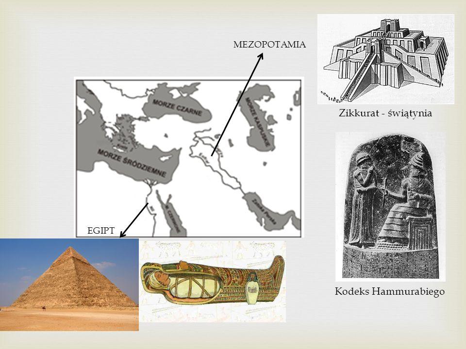MEZOPOTAMIA EGIPT Zikkurat - świątynia Kodeks Hammurabiego
