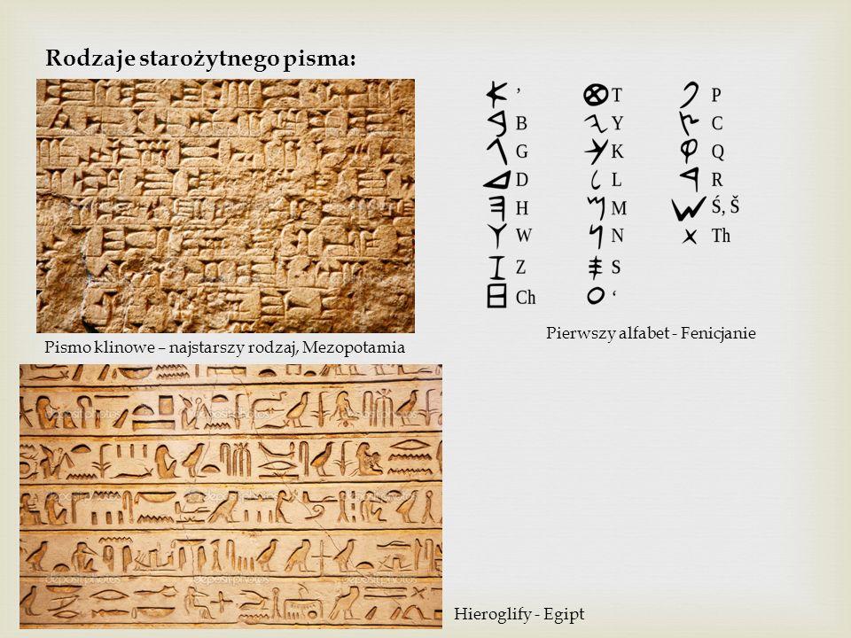 Rodzaje starożytnego pisma: Pismo klinowe – najstarszy rodzaj, Mezopotamia Hieroglify - Egipt Pierwszy alfabet - Fenicjanie