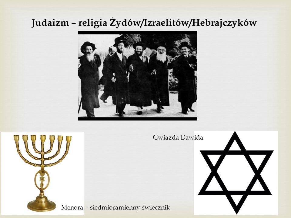 Judaizm – religia Żydów/Izraelitów/Hebrajczyków Menora – siedmioramienny świecznik Gwiazda Dawida