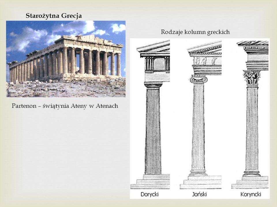 Starożytna Grecja Partenon – świątynia Ateny w Atenach Rodzaje kolumn greckich