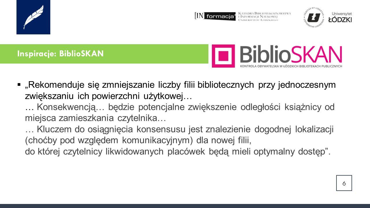 """Inspiracje: BiblioSKAN  """"Rekomenduje się zmniejszanie liczby filii bibliotecznych przy jednoczesnym zwiększaniu ich powierzchni użytkowej… … Konsekwencją… będzie potencjalne zwiększenie odległości książnicy od miejsca zamieszkania czytelnika… … Kluczem do osiągnięcia konsensusu jest znalezienie dogodnej lokalizacji (choćby pod względem komunikacyjnym) dla nowej filii, do której czytelnicy likwidowanych placówek będą mieli optymalny dostęp ."""
