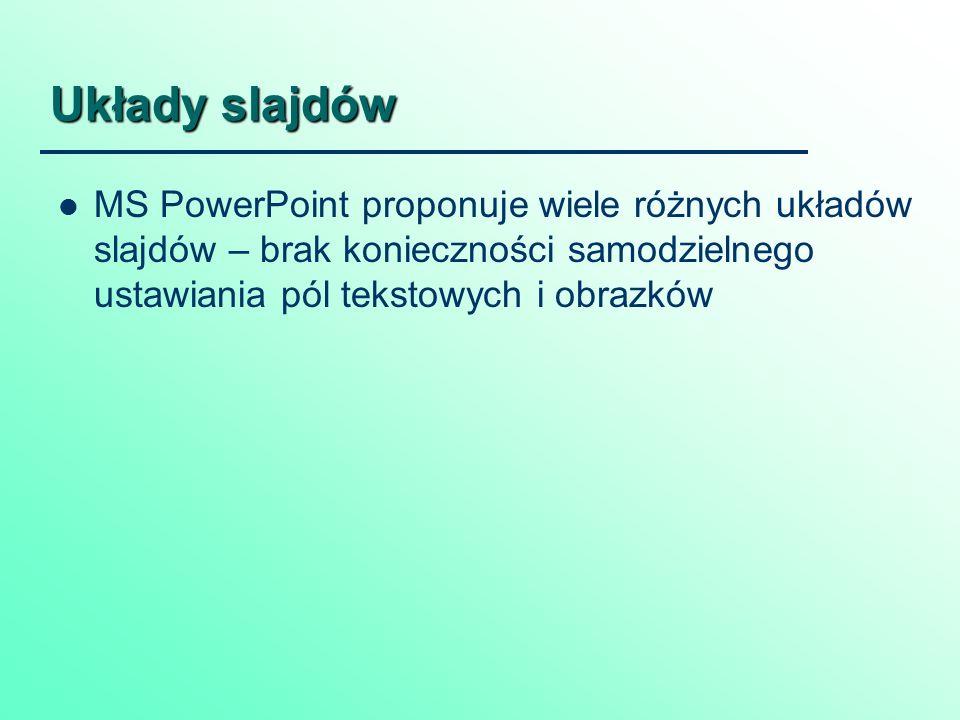 Układy slajdów MS PowerPoint proponuje wiele różnych układów slajdów – brak konieczności samodzielnego ustawiania pól tekstowych i obrazków