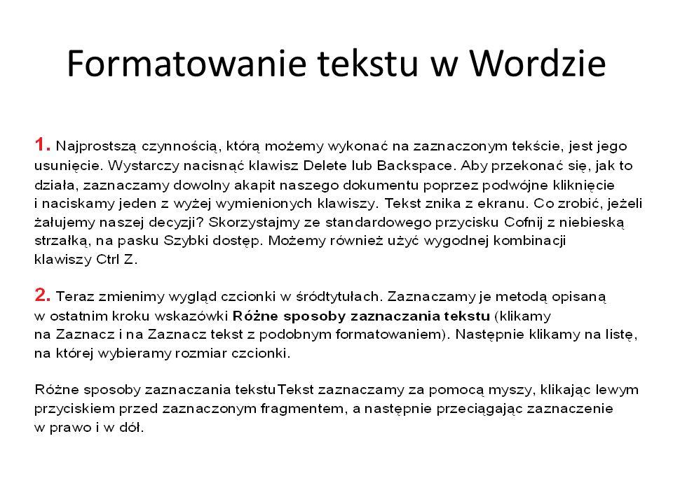 Formatowanie tekstu w Wordzie