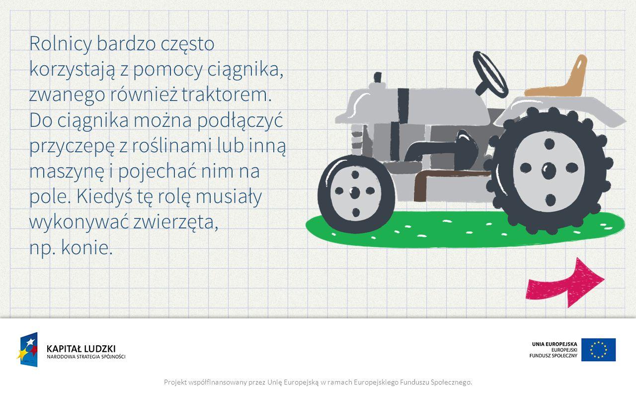 Rolnicy bardzo często korzystają z pomocy ciągnika, zwanego również traktorem. Do ciągnika można podłączyć przyczepę z roślinami lub inną maszynę i po