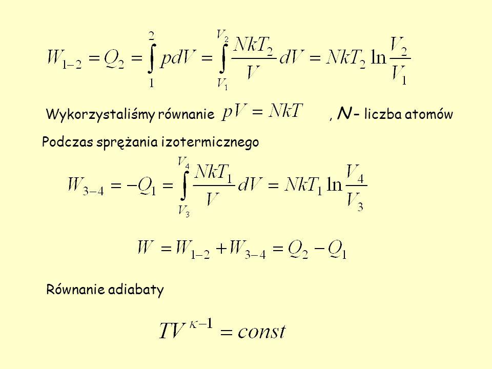 Wykorzystaliśmy równanie, N – liczba atomów Podczas sprężania izotermicznego Równanie adiabaty