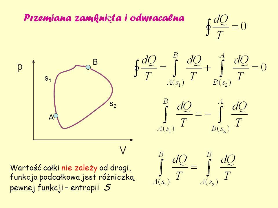 Przemiana zamkni ę ta i odwracalna A B s1s1 s2s2 Wartość całki nie zależy od drogi, funkcja podcałkowa jest różniczką pewnej funkcji – entropii S