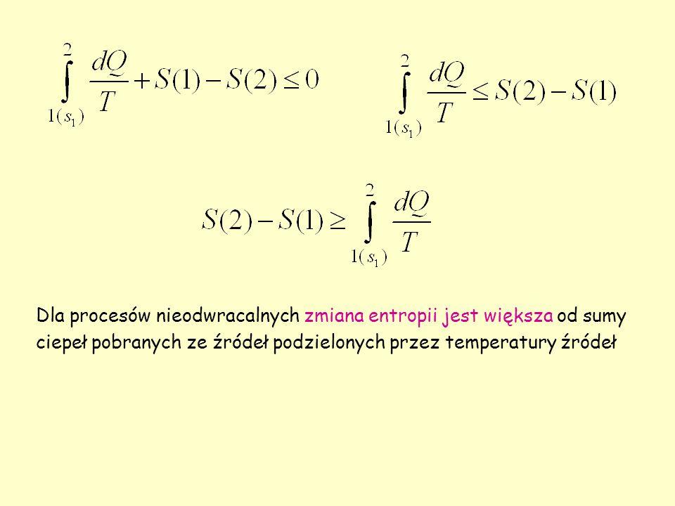 Dla procesów nieodwracalnych zmiana entropii jest większa od sumy ciepeł pobranych ze źródeł podzielonych przez temperatury źródeł