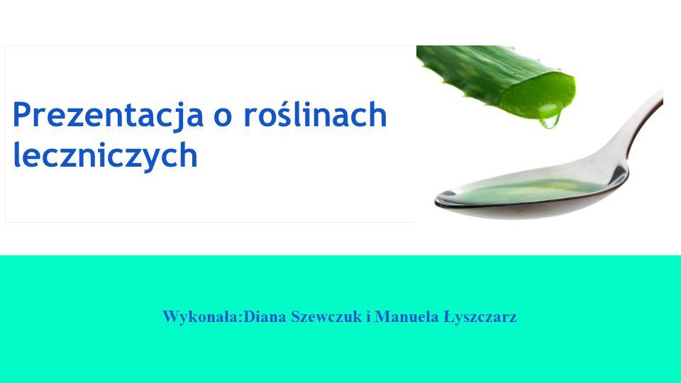Prezentacja o roślinach leczniczych Wykonała:Diana Szewczuk i Manuela Łyszczarz