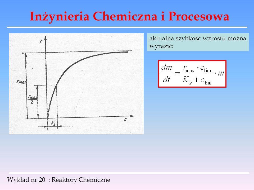 Inżynieria Chemiczna i Procesowa Wykład nr 20 : Reaktory Chemiczne aktualna szybkość wzrostu można wyrazić: