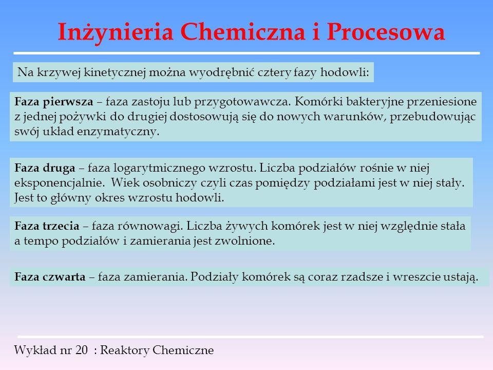 Inżynieria Chemiczna i Procesowa Wykład nr 20 : Reaktory Chemiczne Na krzywej kinetycznej można wyodrębnić cztery fazy hodowli: Faza pierwsza – faza z