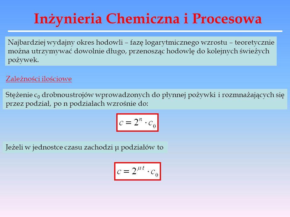 Inżynieria Chemiczna i Procesowa Najbardziej wydajny okres hodowli – fazę logarytmicznego wzrostu – teoretycznie można utrzymywać dowolnie długo, prze